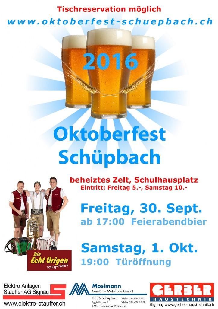 Plakat 2016 Oktoberfest Schüpbach